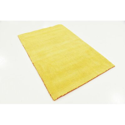 Taul Hand-Knotted Wool Yellow Area Rug Rug Size: 3 3 x 5 3