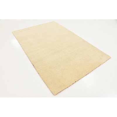 Taul Hand-Knotted Wool Beige Area Rug Rug Size: 4 0 x 5 7