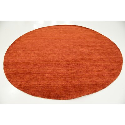 Taul Hand-Knotted Wool Terracotta Area Rug Rug Size: Round 9 10