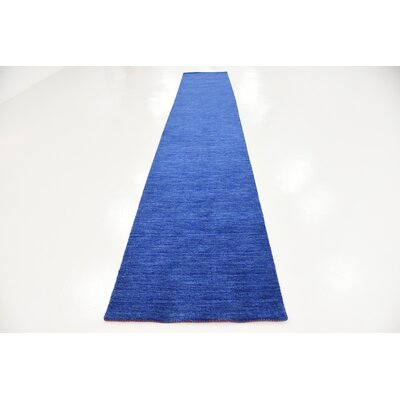 Taul Hand-Knotted Wool Blue Area Rug Rug Size: 2 7 x 16 5