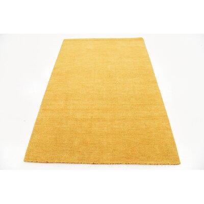 Taul Hand-Knotted Wool Gold Area Rug Rug Size: 4 0 x 6 0