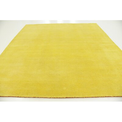 Taul Hand-Knotted Wool Yellow Area Rug Rug Size: Square 9 10