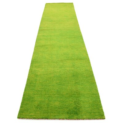 Taul Hand-Knotted Wool Light Green Area Rug Rug Size: 2 7 x 11 6