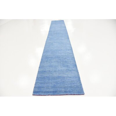 Taul Hand-Knotted Wool Light Blue Area Rug Rug Size: 2 7 x 16 5