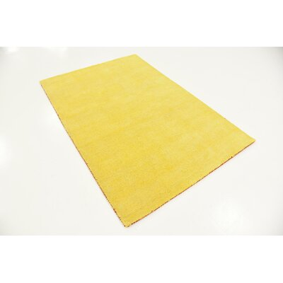 Taul Hand-Knotted Wool Yellow Area Rug Rug Size: 4 0 x 5 7