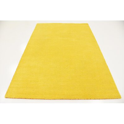 Taul Hand-Knotted Wool Yellow Area Rug Rug Size: 5 3 x 7 5