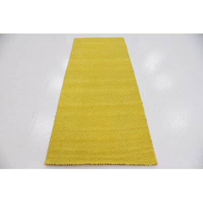 Taul Hand-Knotted Wool Yellow Area Rug Rug Size: 2 7 x 6 7