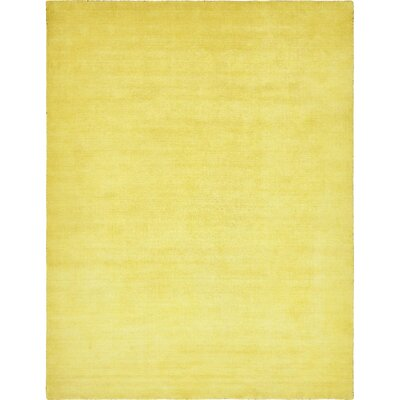 Taul Hand-Knotted Wool Yellow Area Rug Rug Size: 9 10 x 13 1