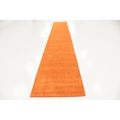 Taul Hand-Knotted Wool Orange Area Rug Rug Size: 2 7 x 16 5