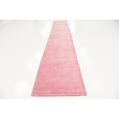 Taul Hand-Knotted Wool Pink Area Rug Rug Size: 2 7 x 16 5