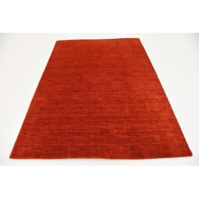 Taul Hand-Knotted Wool Red Area Rug Rug Size: 5 3 x 7 5
