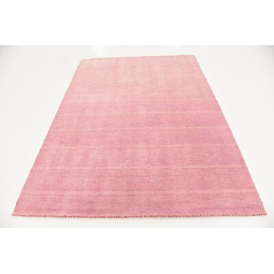 Taul Hand-Knotted Wool Pink Area Rug Rug Size: 5 3 x 7 5