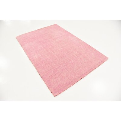 Taul Hand-Knotted Wool Pink Area Rug Rug Size: 4 0 x 5 7