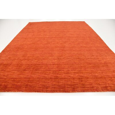 Taul Hand-Knotted Wool Red Area Rug Rug Size: 9 10 x 13