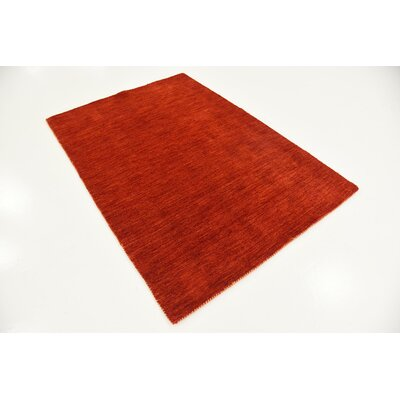 Taul Hand-Knotted Wool Red Area Rug Rug Size: 4 0 x 5 7