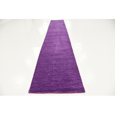 Taul Hand-Knotted Wool Purple Area Rug Rug Size: 2 7 x 16 5