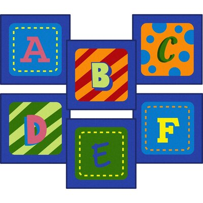 Allerdale Alphabet Sitting Blue Area Rug