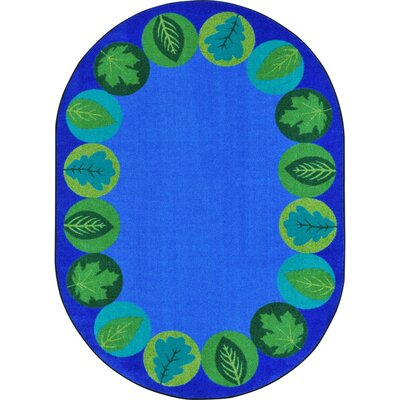 Almira Lively Leaves Blue Area Rug Rug Size: Oval 54 x 78