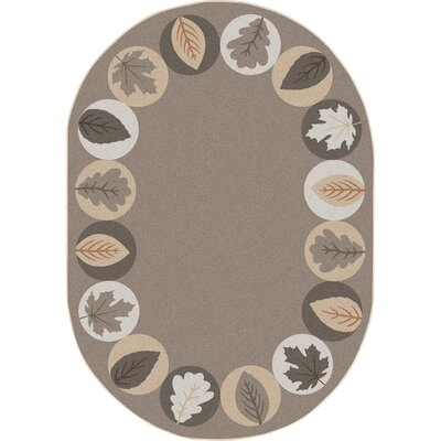 Almira Lively Leaves Brown Area Rug Rug Size: Oval 78 x 109