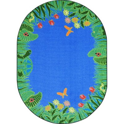 Alpes Merry Meadows Blue Area Rug Rug Size: Oval 54 x 78