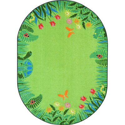 Alpes Merry Meadows Green Area Rug Rug Size: Oval 78 x 109