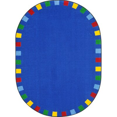 Alpinia on the Border Blue Area Rug Rug Size: Oval 78 x 109