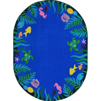 Alvey Soothing Seas Blue Area Rug Rug Size: Oval 54 x 78