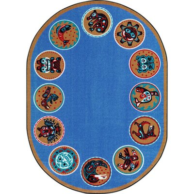 Amaratha the Circle Blue Area Rug Rug Size: Oval 78 x 109