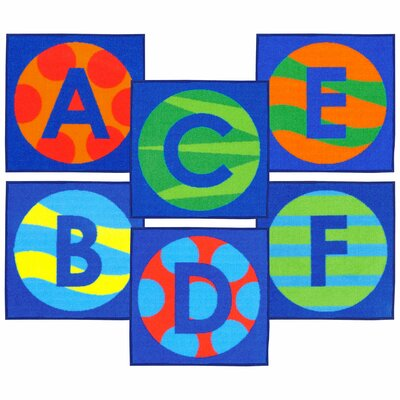 Allerone Alphabet Patterns Sitting Blue Area Rug