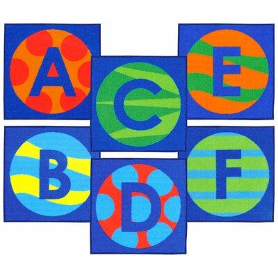 Allerone Alphabet Patterns Sitting Blue Area Rug