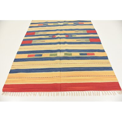 Pheonix Hand woven Wool Red/Brown/Blue Area Rug Rug Size: Runner 2 x 67