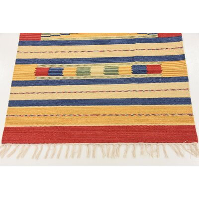 Pheonix Hand woven Wool Red/Brown/Blue Area Rug Rug Size: Rectangle 3 x 5