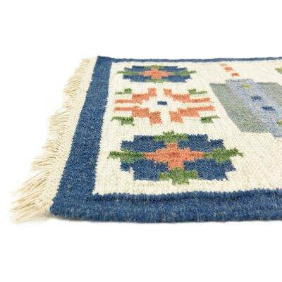 Rosario Hand woven Wool Blue/Beige Area Rug