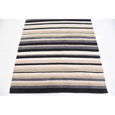 Setsuko Hand woven Wool Black Area Rug Rug Size: 4 x 5 7