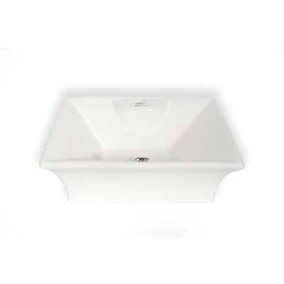 Cordoba Ceramic Square Vessel Bathroom Sink with Overflow