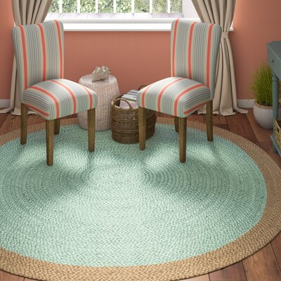 Cayla Fiber Hand-Woven Aqua/Natural Area Rug Rug Size: Round 8