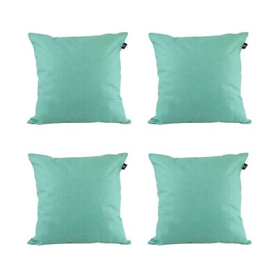 Cotton Pillow Cover Color: Cyan, Size: 18 x 18