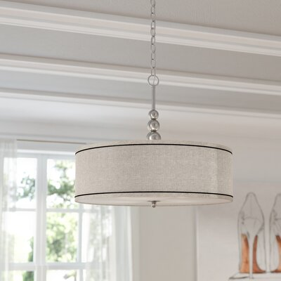 Annuziata 3-Light LED Drum Pendant Finish / Shade: Brushed Steel / Silver Metallic Shade