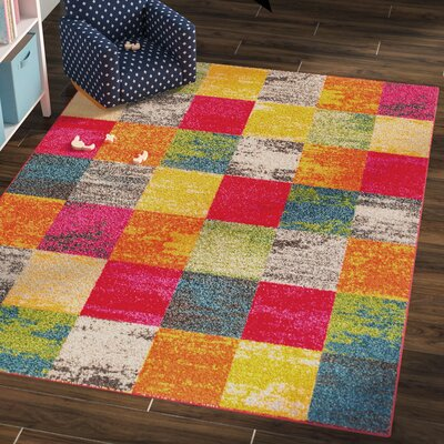 Eddie Red/Orange Area Rug Rug Size: 53 x 73