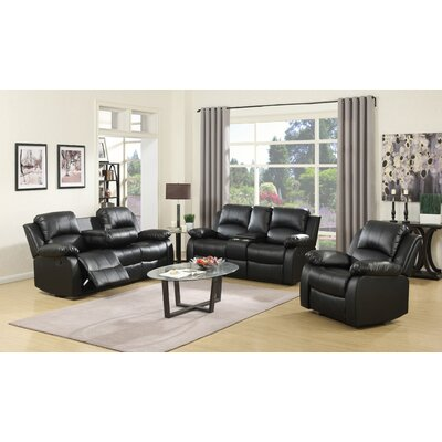 Berta Reclining Living Room Set Upholstery: Black