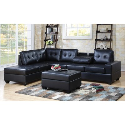 Philipstown Heights Modular Sectional with Ottoman Upholstery: Black