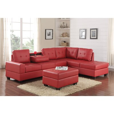 Philipstown Heights Modular Sectional with Ottoman Upholstery: Red