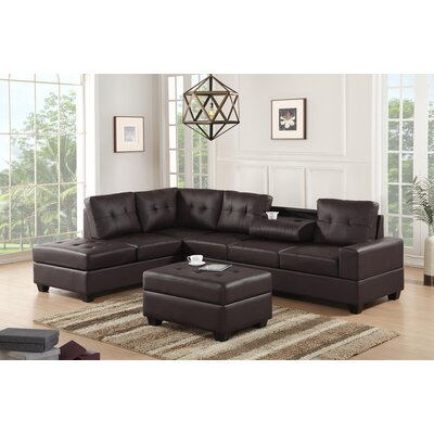 Philipstown Heights Modular Sectional with Ottoman Upholstery: Espresso