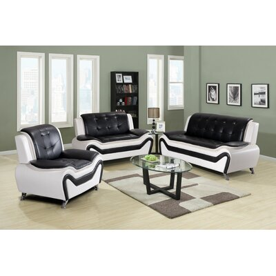 Claus 2 Piece Living Room Set Upholstery: White/Black