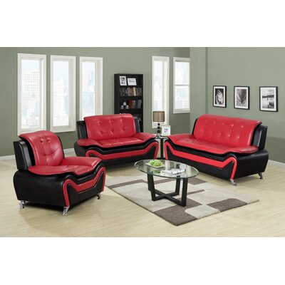 Claus 3 Piece Living Room Set Upholstery: Red/Black