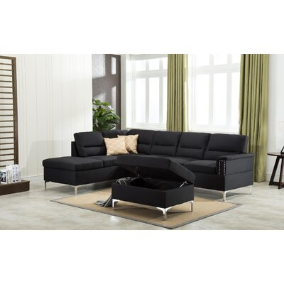 Sharee Modular Sectional with Ottoman Upholstery: Black