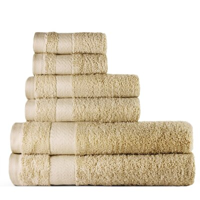 6 Piece Bath Towel Set Color: Cream