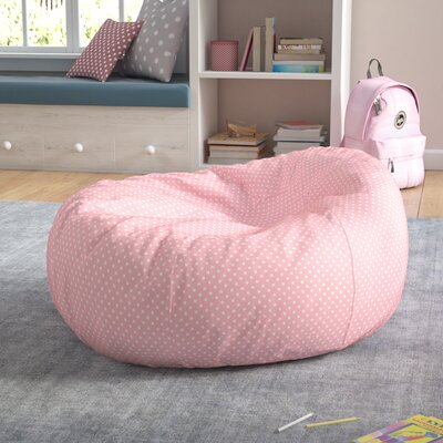 Polka Dots Cotton Bean Bag Chair Upholstery: Light Pink/White