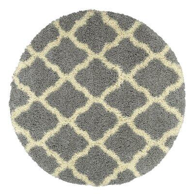 Danby Trellis Gray Area Rug Rug Size: Round 53 x 53