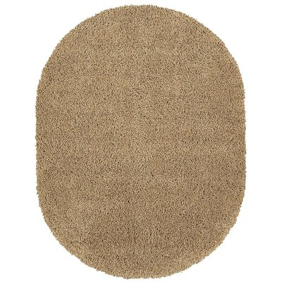 Cozy Shag Beige Runner Rug Size: Oval 53 x 7